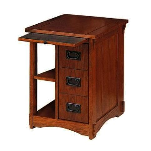 Beau Craftsman Mission Oak Side End Table Magazine Rack