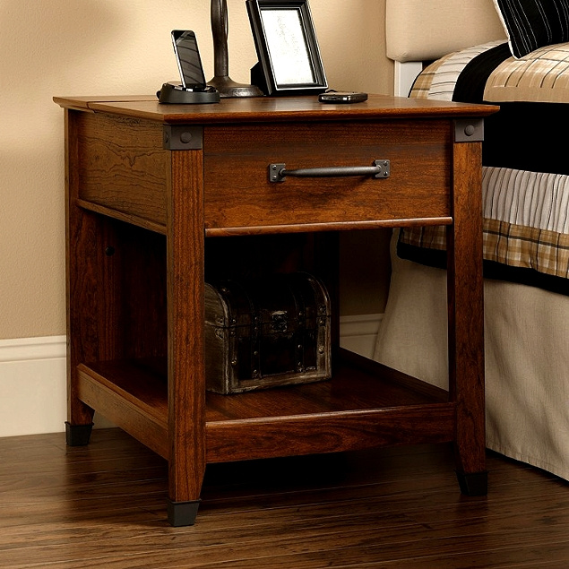 Delicieux Craftsman Mission Side End Table W/Wrought Iron