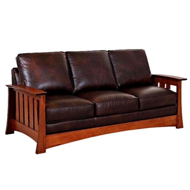 Quarter Sawn Oak Arts U0026 Crafts Leather Mission Sofa