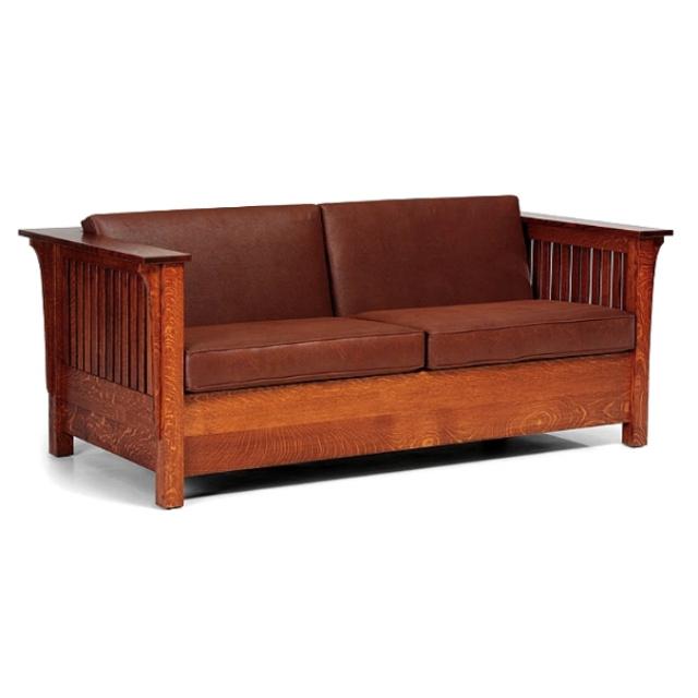 Quarter Sawn Leather Oak Mission Craftsman Sleeper Sofa