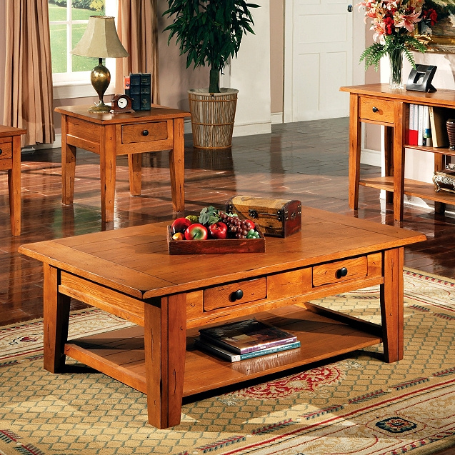 Mission Furniture Living Room - Wayfair oak coffee table