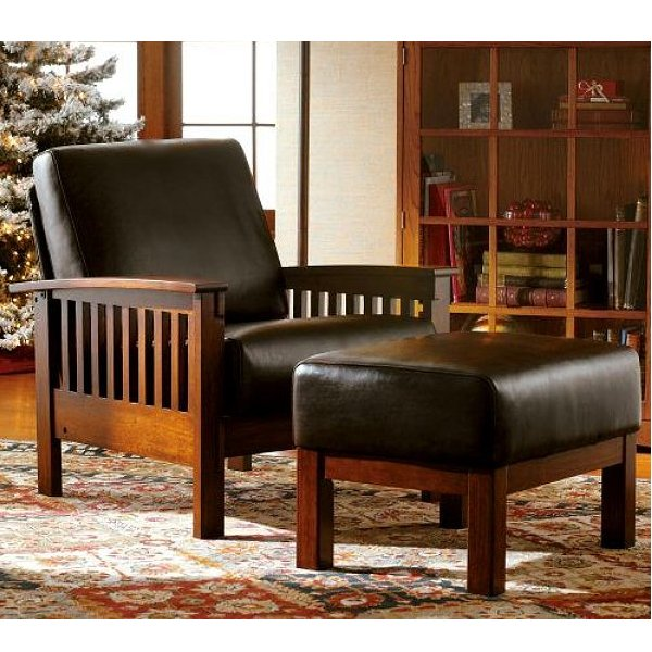 Leather Mission Oak Morris Chair & Mission Furniture - Living Room