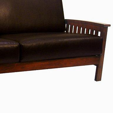 Leather Mission Oak Morris Sofa