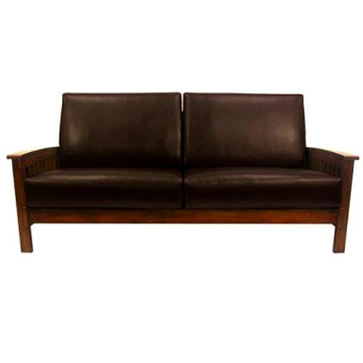 Leather Mission Oak Morris Chair