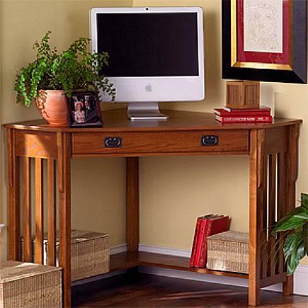 Oak Mission Craftsman Corner Desk - Office Furniture Mission Furniture Craftsman Furniture