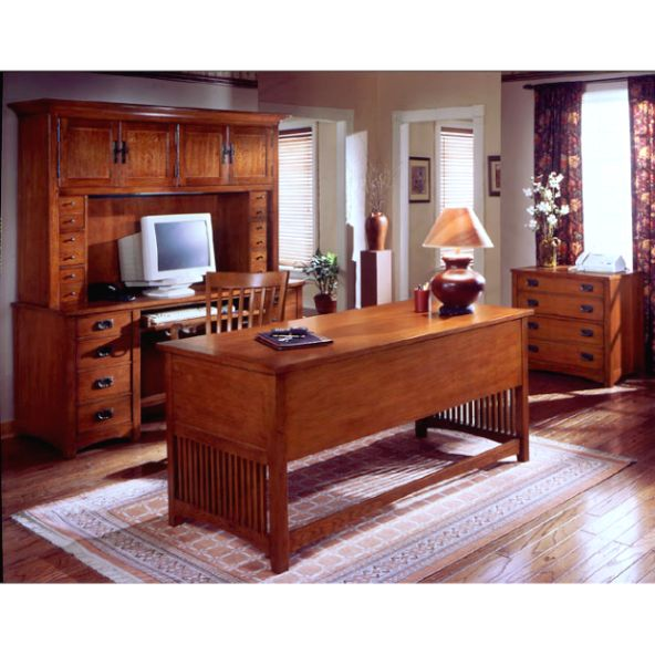 Mission Craftsman Oak Deluxe Executive Desk
