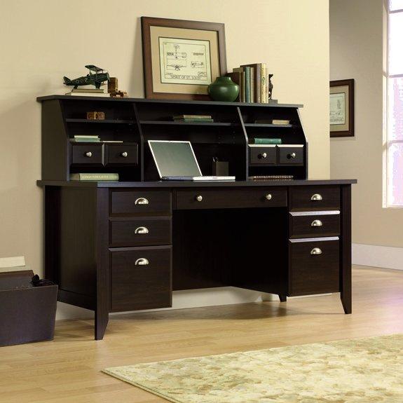 Espresso Shaker Executive Computer Desk W Hutch