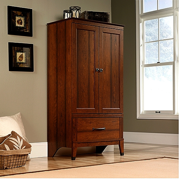 Cherry Craftsman Mission Armoire W Wrought Iron