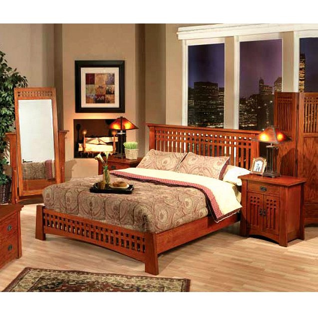 Quarter Sawn Oak Mission Craftsman Ca King Platform Bed