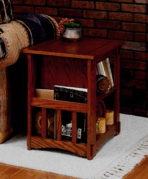 Craftsman Mission Oak Side End Table Magazine Rack