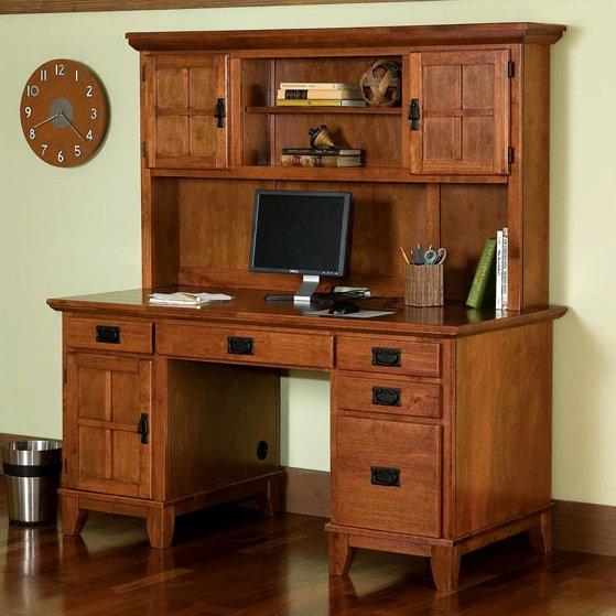 Mission Craftsman Oak Computer Desk Hutch