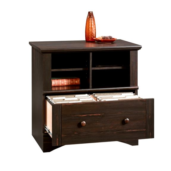 Antiqued Black Mission Lateral File Cabinet