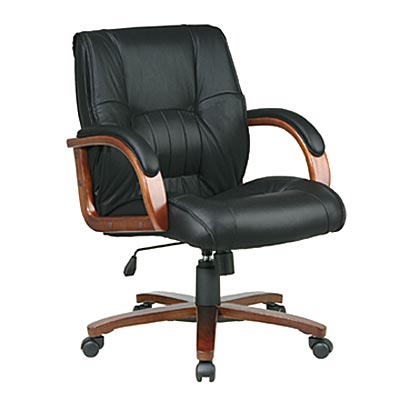 Deluxe Leather Cherry Wood Office Chair